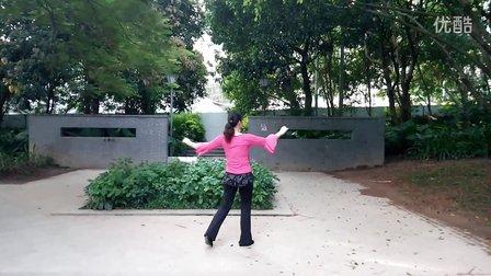 清清姐妹广场舞原创《唐伯虎点秋香》背面演示和编舞丽清